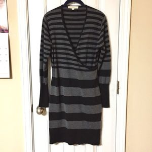 Loft Black & Grey Long Sleeve Sweater Dress